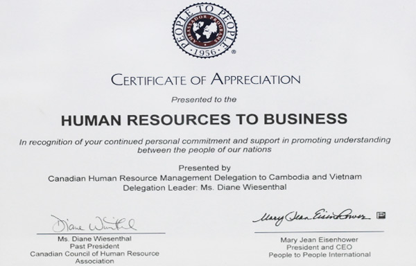 Certificate of Appreciation presented to the Human Resources to Business